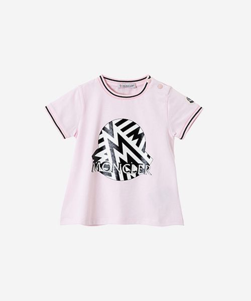 [추가5%할인][몽클레어] 파우더 핑크 바이컬러 로고 프린트 셔츠