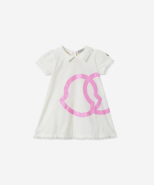 [추가5%할인][몽클레어] 크림&핑크 로고 프린트 드레스