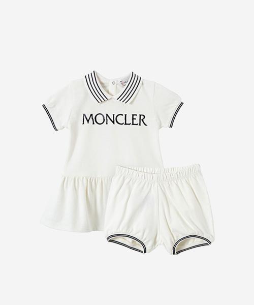 [선착순특가][몽클레어] 아이보리 컬러로고 티셔츠 앤 쇼츠
